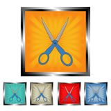 Square scissors burst buttons Royalty Free Stock Photography