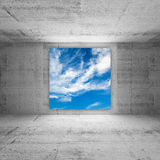 Square screen with cloudy sky in abstract room Stock Photography