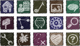 Square Scribbles Icon Set Stock Image