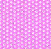 Square seamless baby pattern of white animal paw prints on pink background. Vector illustration, template, poster, banner, cats or dogs paw walking track print Royalty Free Stock Image
