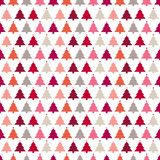 Seamless Pattern Christmas Trees With Stars Pink Red Orange Beige stock illustration