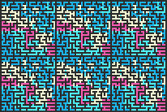Square seamless pattern of colored labyrinth, flat illustration. Square seamless pattern of colored labyrinth, flat stock illustration