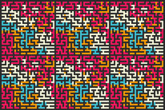 Square seamless pattern of colored labyrinth, flat illustration. Square seamless pattern of colored labyrinth, flat royalty free illustration