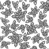 Seamless pattern with bouquets of roses on a white background. Black and white color. Hand drawings. Square seamless pattern. Hand drawn roses on white Royalty Free Stock Photography