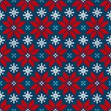 Seamless Pattern Knitted Little Poinsettia Red Blue White vector illustration