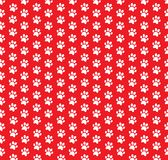 Square seamless pattern of white animal paw prints on red background. Vector illustration, template, poster, banner, cats or dogs paw walking track print for Royalty Free Stock Images
