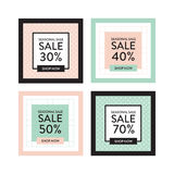 Square season online shopping website and mobile website banners. Set of summer spring mid season mobile sale banners. Vector illustrations of square season Stock Image