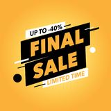 Finall sale banner. Orange background. Square seasonal sale banner. Best for social media and web site ad Royalty Free Stock Image