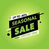Seasonal sale banner. Green background. Square seasonal sale banner. Best for social media and web site ad Royalty Free Stock Photo