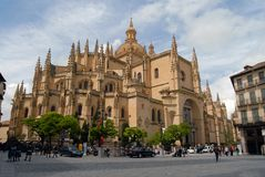 Square of Segovia and its cathedral Royalty Free Stock Photos
