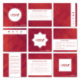 Square set of brochure.  Business, science, medicine and technology design template. Cover layout . Background with red Royalty Free Stock Photo