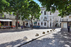 Square in Setubal, Portugal. Setubal, Portugal - June 05, 2017: Street scene in city of Setubal. Situbal is the important center of Portugal`s fishing industry royalty free stock photo