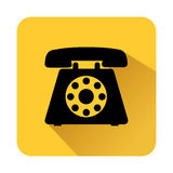 Square shape with black silhouette antique phone icon Royalty Free Stock Image