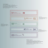 Square shape infographic template consists of five parts from outlines Stock Photo