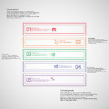 Square shape infographic template consists of five parts from outlines Stock Images