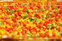 Square shape jelly candy flavor fruit, candy dessert colorful on sugar Royalty Free Stock Images