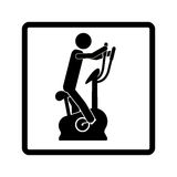 square shape pictogram with man in spinning bike Stock Photos