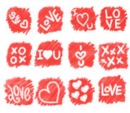 Square Shape Scribble Sketch Love Hearts Royalty Free Stock Image