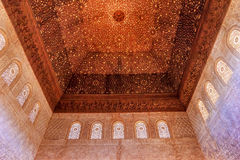 Square Shaped Domed Ceiling Alhambra Granada Andalusia Spain. Square Shaped Domed Ceiling Arch Alhambra Moorish Wall Windows Patterns Designs Granada Andalusia Royalty Free Stock Images