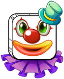 A square-shaped face of a clown with a violet collar Stock Images