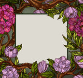 Square shaped greeting card template decorated with flowers and leaves Stock Photo
