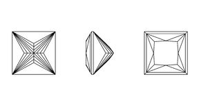 Square shapes of a gemstone. Wireframe Stock Photo