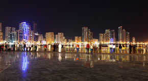 Square in Sharjah City at night Stock Photos