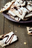 Square Shortbread Christmas cookies with chocolate Stock Photography