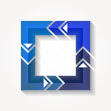 Square sign with four blue folded ribbons Stock Images
