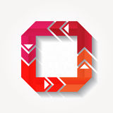 Square sign with four red folded ribbons Stock Images