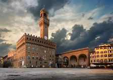 Florence at sunrise. Square of Signoria in Florence at sunrise, Italy Stock Photography