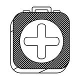 Square silhouette button with contour first aid kit. Illustration Stock Photo