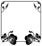 Square silhouette flower frame. Copy space. Vector clip art. Stock Photo