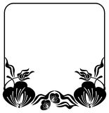 Square silhouette flower frame. Copy space. Vector clip art. Stock Photography