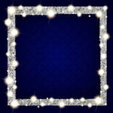 Square silver frame with lights on dark background. Square silver frame with lights on a dark background. Vector illustration Stock Image