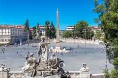 The Piazza del Popolo and Flaminio Obelisk. The square is situated at the beginning of Via Flaminia and was the main entrance to the city during the Roman Empire stock photography