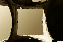 A square of sky seen through the roof,sepia hue Stock Image