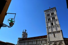 Lucca city Italy. Square sky windows cloud tower colors country road street courts green door panorama sunset courts sleep square Italy Royalty Free Stock Image