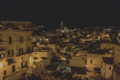 Matera street city Italy. Square sky windows cloud tower colors country road street courts green door panorama sunset courts sleep square Italy Royalty Free Stock Photography