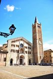 Parma city Italy. Square sky windows cloud tower colors country road street courts green door panorama sunset courts sleep square Italy Stock Photography