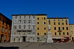 Lucca city Italy. Square sky windows cloud tower colors country road street courts green door panorama sunset courts sleep square Italy Stock Photos