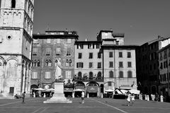 Lucca city Italy. Square sky windows cloud tower colors country road street courts green door panorama sunset courts sleep square Italy Stock Image