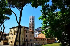 Lucca city Italy. Square sky windows cloud tower colors country road street courts green door panorama sunset courts sleep square Italy Stock Photography