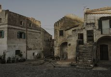 Matera street city Italy. Square sky windows cloud tower colors country road street courts green door panorama sunset courts sleep square Italy Royalty Free Stock Images