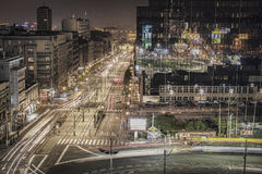 Square Slavija. City night scape from one of tallest buildings in Belgrade that looks on this square Stock Photo