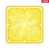 Square slice of lemon.  on white Stock Photos