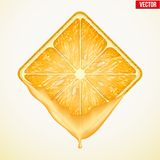 Square slice of orange with fresh juice. Vector Royalty Free Stock Images