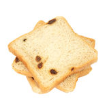 Square sliced bread with raisin Stock Images