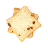 Square sliced bread with raisin Royalty Free Stock Images