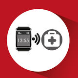 Square smart watch health first aid. Vector illustration eps 10 Royalty Free Stock Images